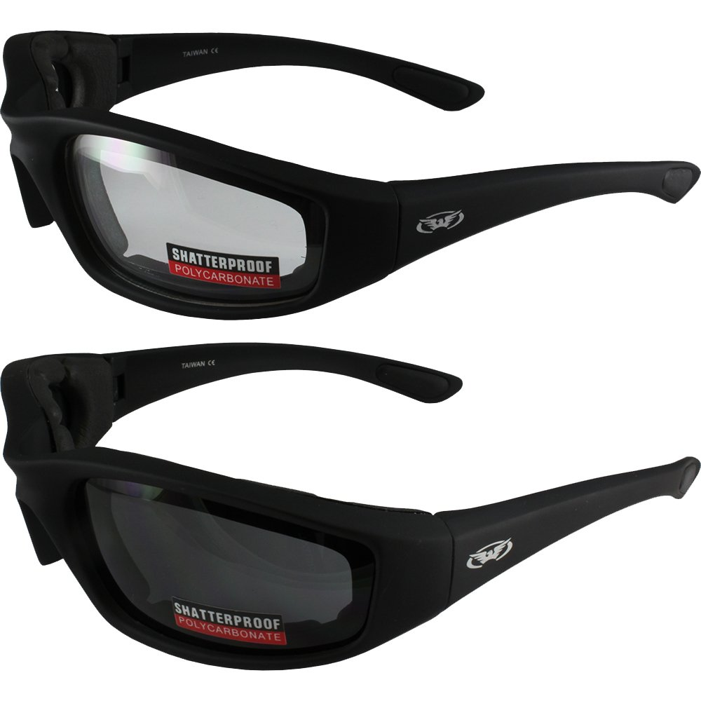 Two (2) Pairs Kickback Padded Motorcycle Sunglasses Black Frame Clear Lens Smoke Lens