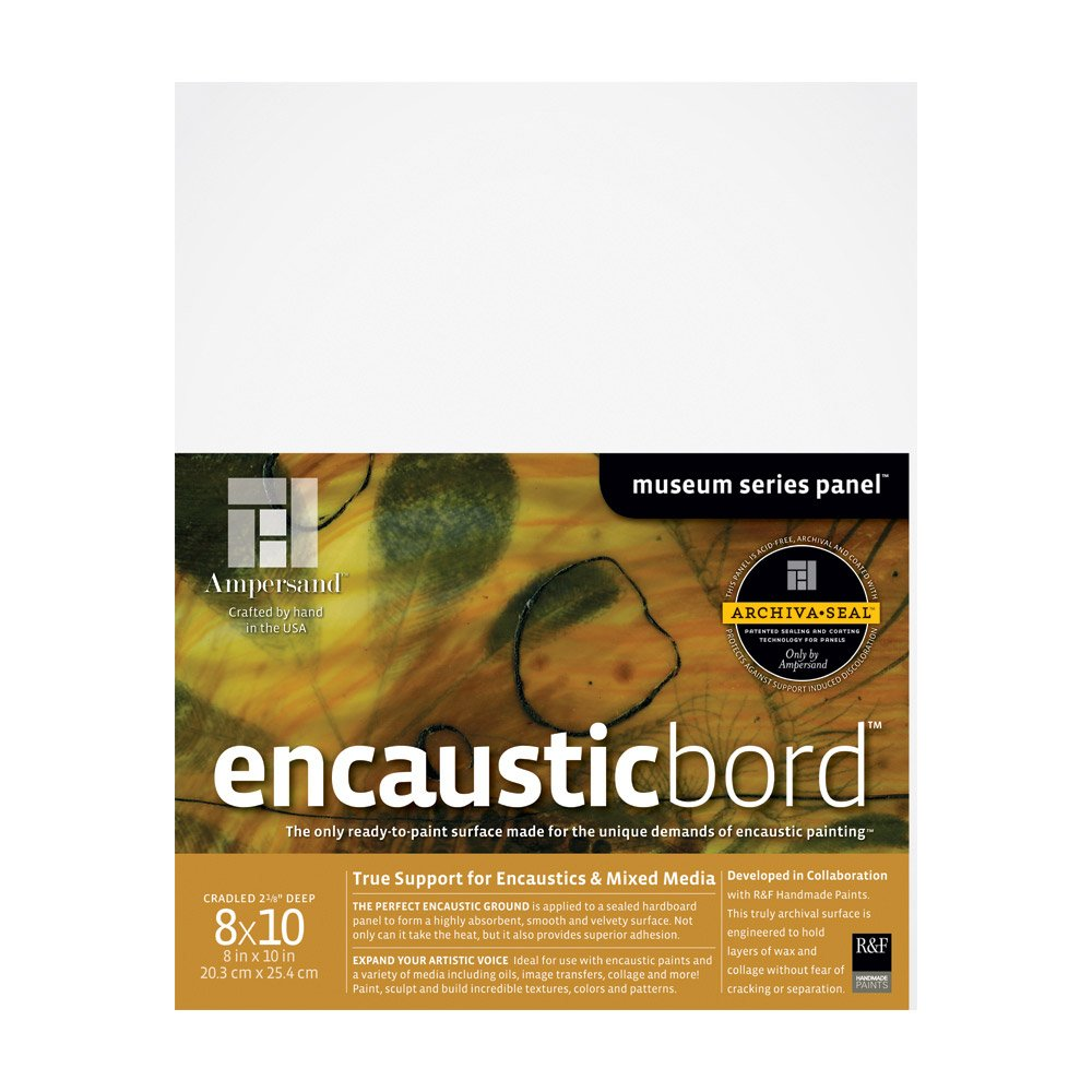 Ampersand Encausticbord Hardboard Panel for Encaustics and Mixed Media, 2 Inch Depth Cradle, 8X10 Inch (ENC20810) by Ampersand
