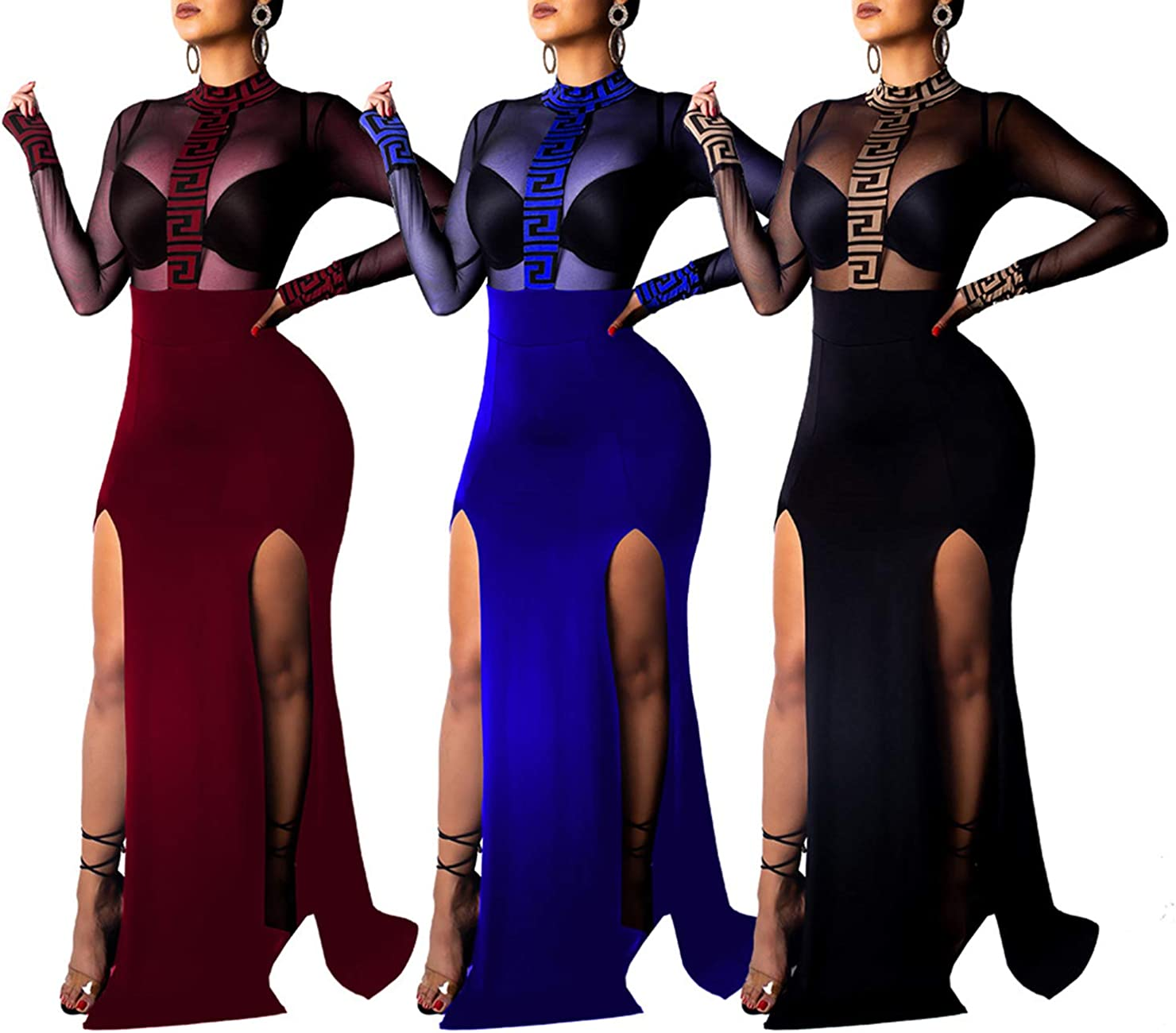Womens Long Sleeve Slim Fit Bodycon Dress Ladies Evening Party Gown Maxi Dresses