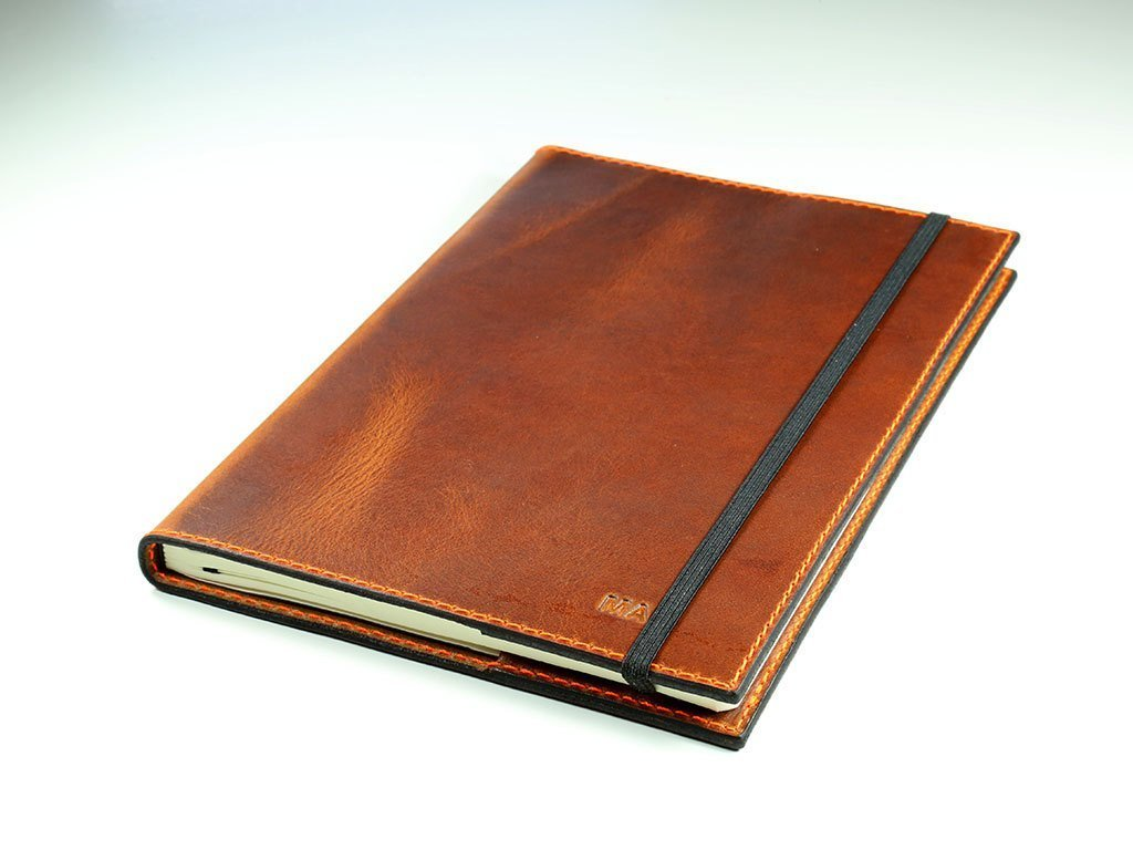 Leather Journal Leuchtturm1917 Medium A5 (5.75x8.25) Notebook in Chestnut Horween Full-Grain Leather Cover Refillable Writing Diary with Elastic Closure Vintage Travel Journal Handmade in USA Gift for Men, Women, Travelers