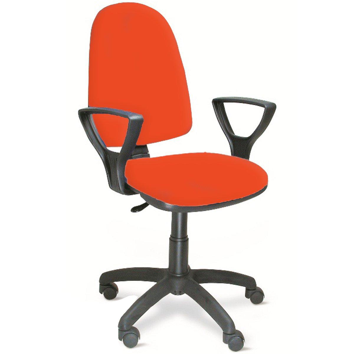 Sedia Poltrona Ufficio Operativa Girevole Casa in Tessuto Colore Arancio