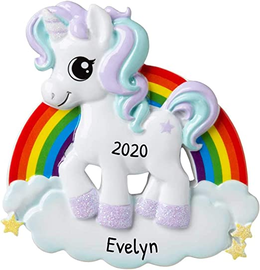 Rainbow Unicorn 2020 Christmas Ornament Amazon.com: Personalized Unicorn Christmas Tree Ornament 2020   My