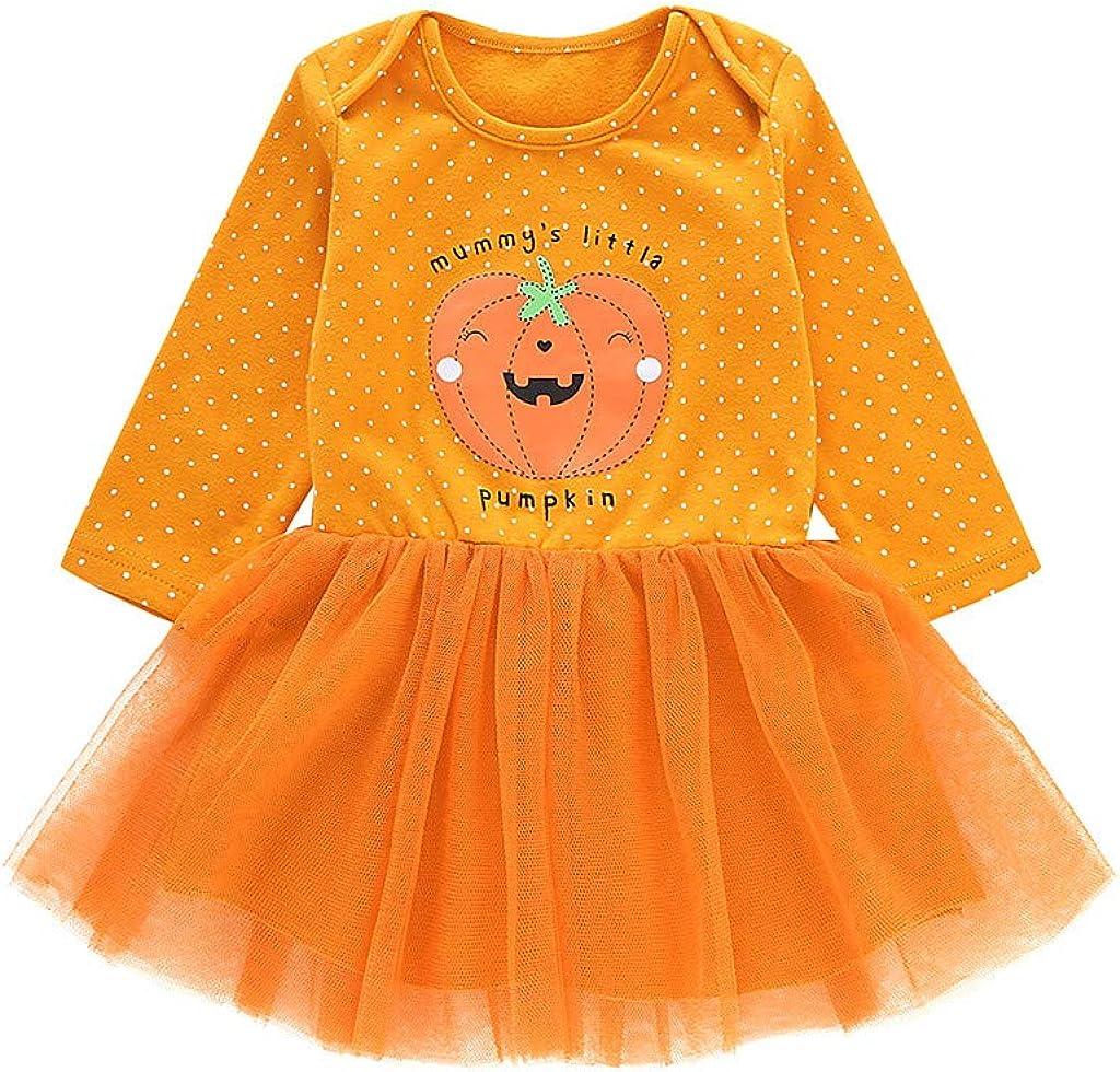 Fulltime Disfraz de Halloween para reci/én nacidos beb/é ni/ña naranja dibujos animados Pumkin manga larga tut/ú vestido ropa mameluco para 0-3 a/ños TM