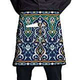 XiHuan Grill Aprons Kitchen Chef Bib Arabic Floral Seamless Border Traditional Islamic Design Mosque Decoration Element Professional For BBQ Baking Cooking For Men Women Pockets