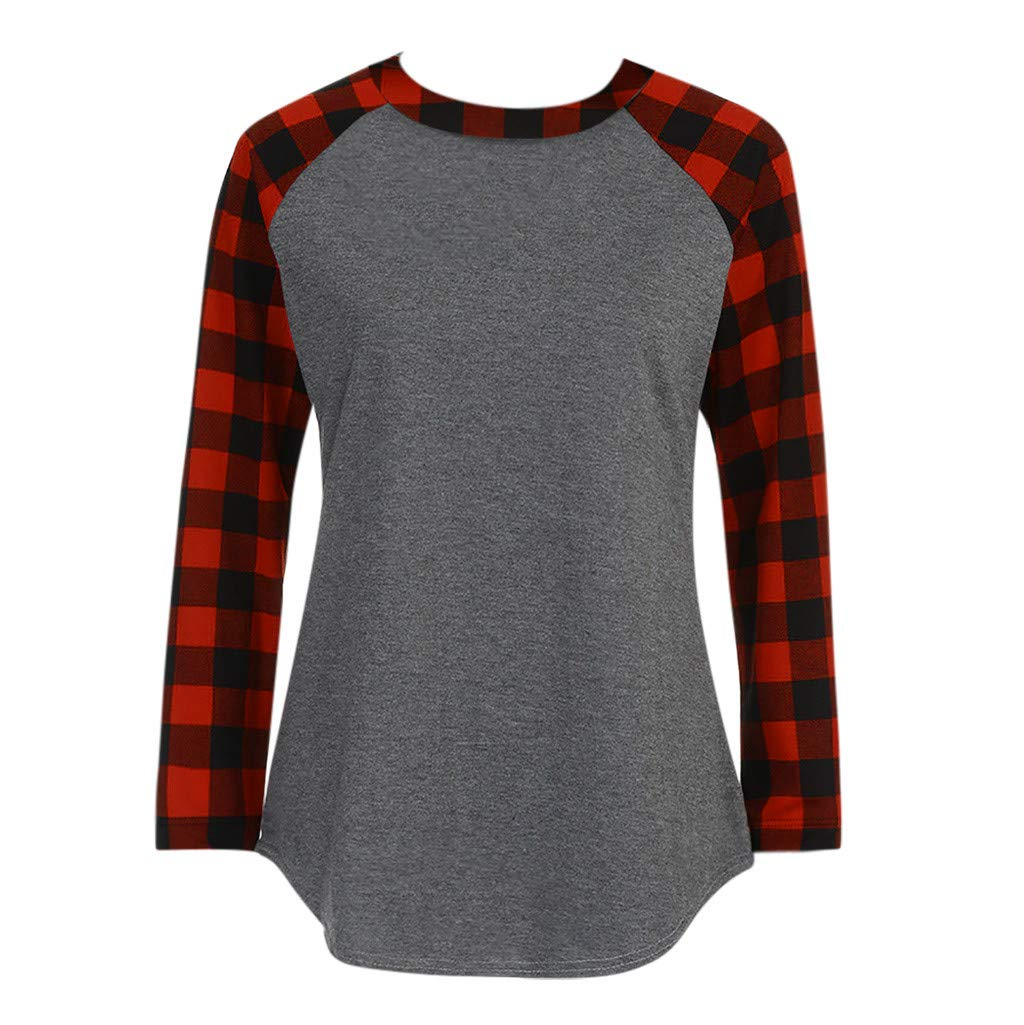 Willow S Women Fashion Casual O-Neck Long Sleeve Plaid Patchwork Sweatshirt Pullover Loose Tops Blouse T-Shirt Gray