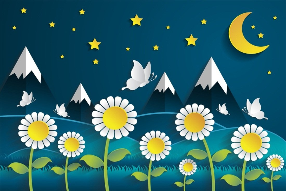 Amazon Com Ofila Cartoon Moonlight Night Backdrop 9x6ft Twinkle
