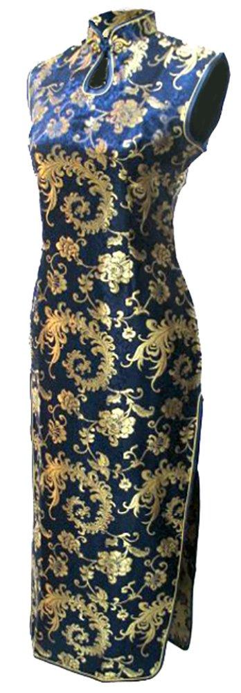 7Fairy Women' Navy Blue Phoenix Tail Long Vtg Chinese Dress Cheongsam Size 2 US