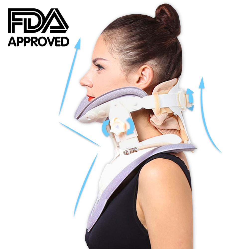 Patented FDA Guaranteed New Medical Neck Cervical Traction Device Portable Home Use, Therapy Unit Provide Relief for Neck and Upper Back Pain, Dizziness and Limb Numbness.