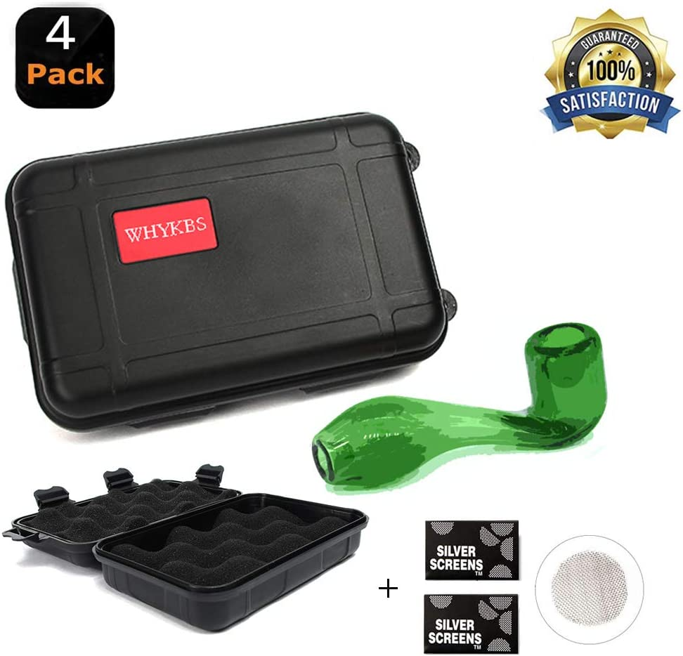 Hand Made Crafts,Green,Bent,Smooth,Black Box with 2 Packs of Steel Screen Filters