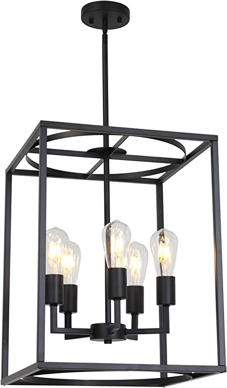 Bonlicht 5 Light Large Farmhouse Chandelier Rustic Dining Room Lighting Fixtures Hanging Black Foyer Square Cage Pendant Lighting Vintage Industrial Kitchen Island Ceiling Lamp With Metal Art Shade Pendant Lights Amazon Canada
