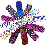 """Novelty Place Animal/Heart Print Slap Bracelets Party Wrist Strap for Adult Teens Kids - 9"""" Assorted Colors (Pack of 25)"""
