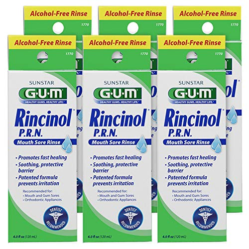 GUM Rincinol P.R.N. Alcohol-Free Mouth Sore Rinse, 4 Ounce Bottle (Pack of 6)