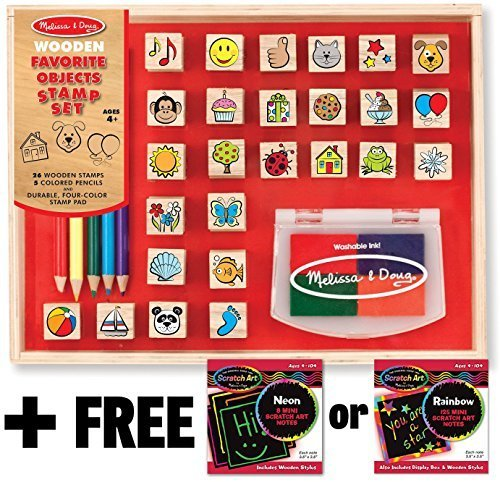 Favorite Things: Wooden Stamp Set + FREE Melissa & Doug Scratch Art Mini-Pad Bundle [93620]