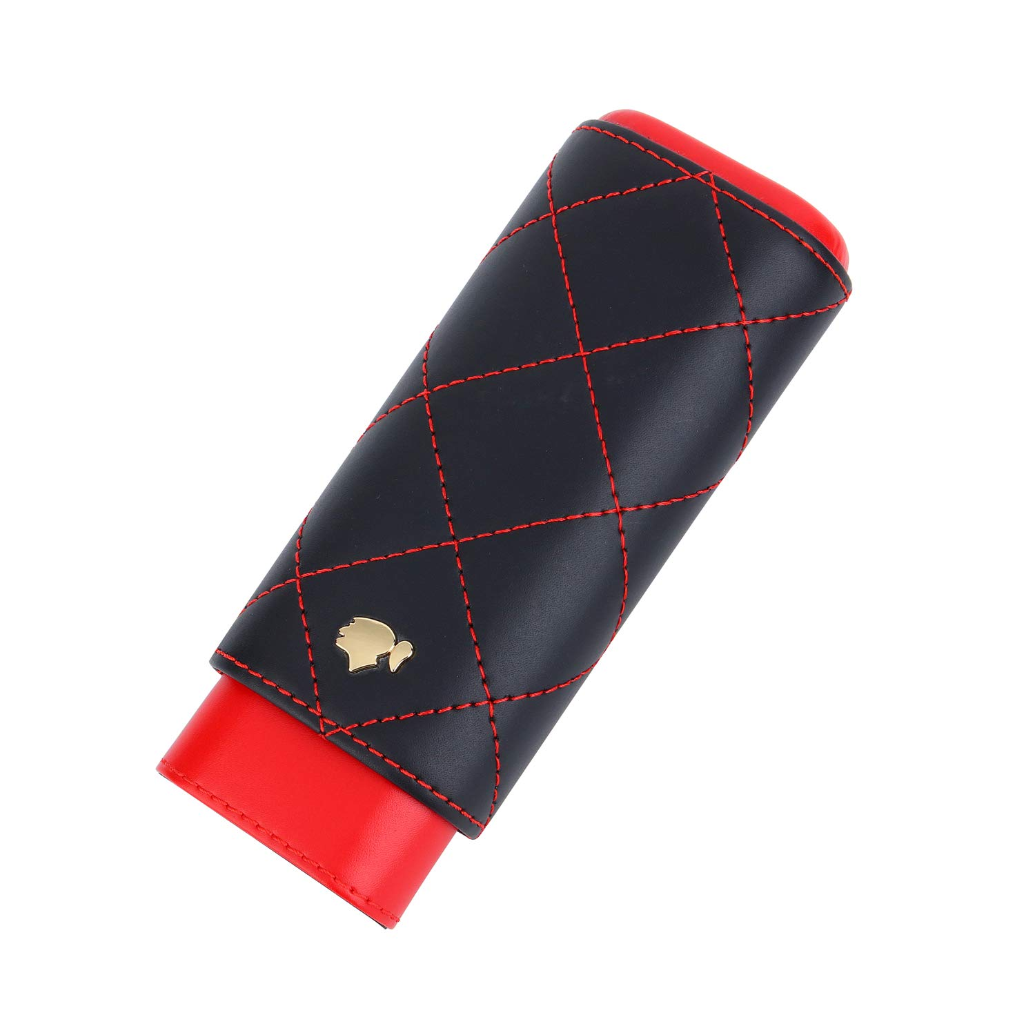 Cohiba 2 Holders Black Red Genuine Leather Cigar Case with Interior Cedar Lining, Packed with Nice Gift Box