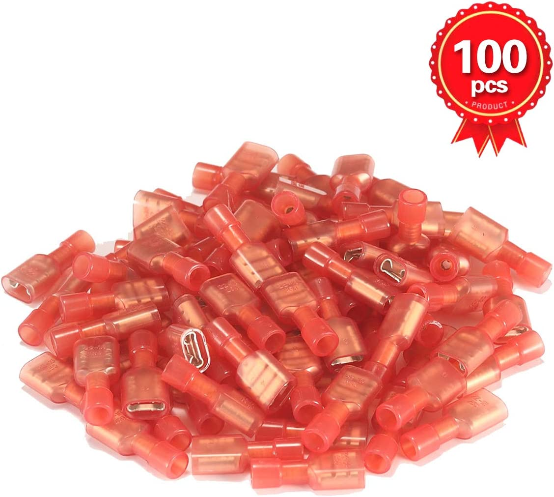 500PCS Red Female Insulated Spade Electrical Crimp Terminal Connector 22-16AWG