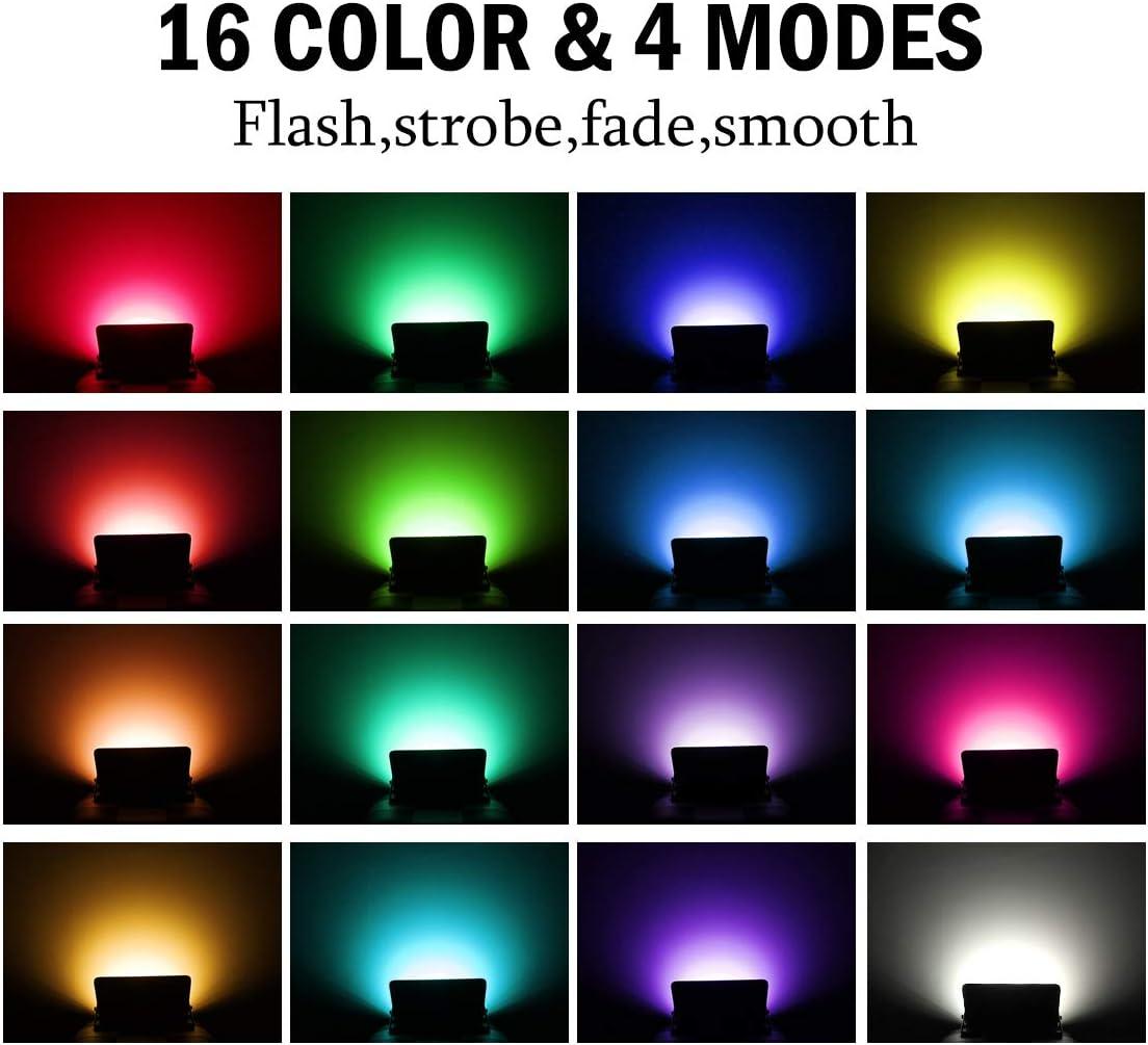 T-SUN 100W 2er Set Fluter Au/ßen LED Strahler Gartenstrahler Dimmbar mit 16 Farben 4 Modi Memory Funktion Flutlicht f/ür Au/ßen Innen Garten Party RGB Strahler mit Fernbedienung IP66 Wasserdicht