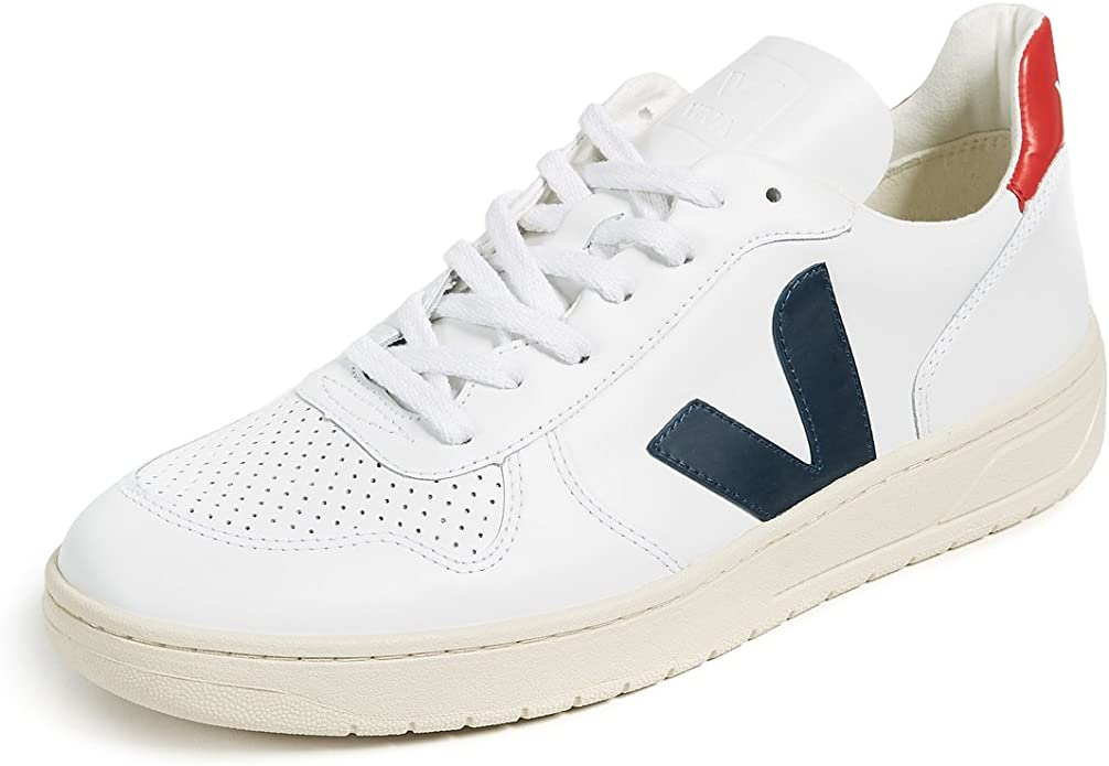 best online classic fit on feet images of Veja V10 Leather Trainers White: Amazon.co.uk: Shoes & Bags