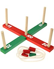 PMS Quoits Ring Toss Outdoor Indoor Kids Adults Game Set Ropes