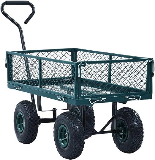 vidaXL Carrito de Mano Basculante de Transporte Trolley Mover ...