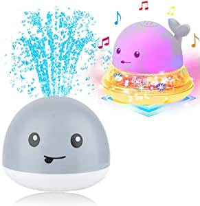 Baby Bath Toys, Water Spray Ball Durable Electric Induction Water Whale Toy with Light Musical Bathing Doll