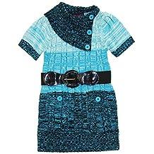 Dollhouse Little Girls Short Sleeve Cardigan Sweater with Elastic Belt, Blue, 4
