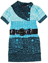 Dollhouse Little Girls Short Sleeve Cardigan Sweater with Elastic Belt, Blue, 4