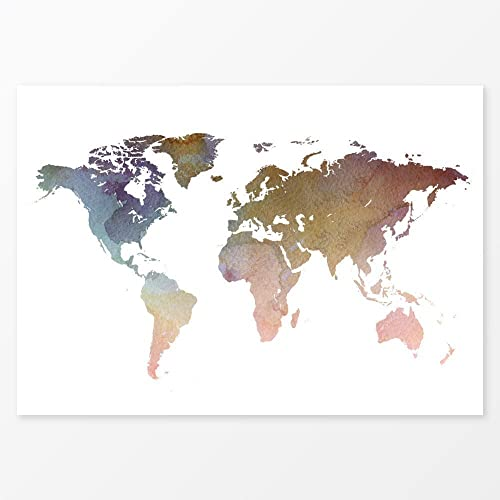 Watercolour World Map Wall Art Poster Brown Pink Blue Size X - Pink world map poster