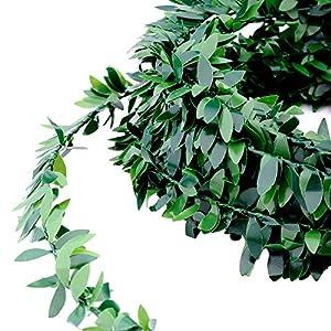 32.8 Yards Artificial Ivy Garland Foliage Green Leaves Fake Vine Headband Artificial Leaf Vine Fake Hanging Plants for Wedding Party Ceremony DIY Headbands 6