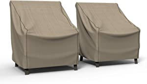 Budge P1W01PM1-2PK English Garden Patio Chair Cover, Medium (2-Pack), Tan Tweed