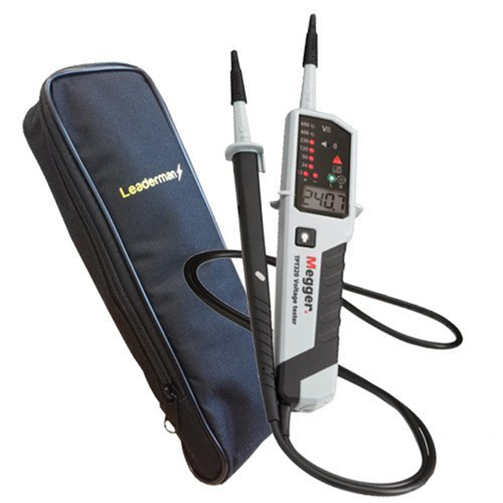 Megger TPT320 & LDMC1 Carry Case - LCD & LED, 12 To 690 Volt AC/DC, 0 To 500 Kilohm Two Pole Voltage, Continuity & Phase Rotation Tester, Can Be Used For Testing Auto Electrical And Fire Alarm Systems, Comes with a Deluxe Leaderman Soft Protective Zipped C
