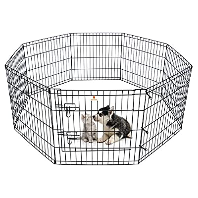 Dog Pen Pet Playpen Dog Fence Indoor Foldable Metal Wire Exercise Pen Puppy Play Yard Pet Enclosure Outdoor for Small Dogs Kittens Rabbits 8 Panels - 24""
