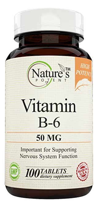 Nature's Potent - Vitamin B-6 (Pyridoxine) 50 mg, 100 Tablets