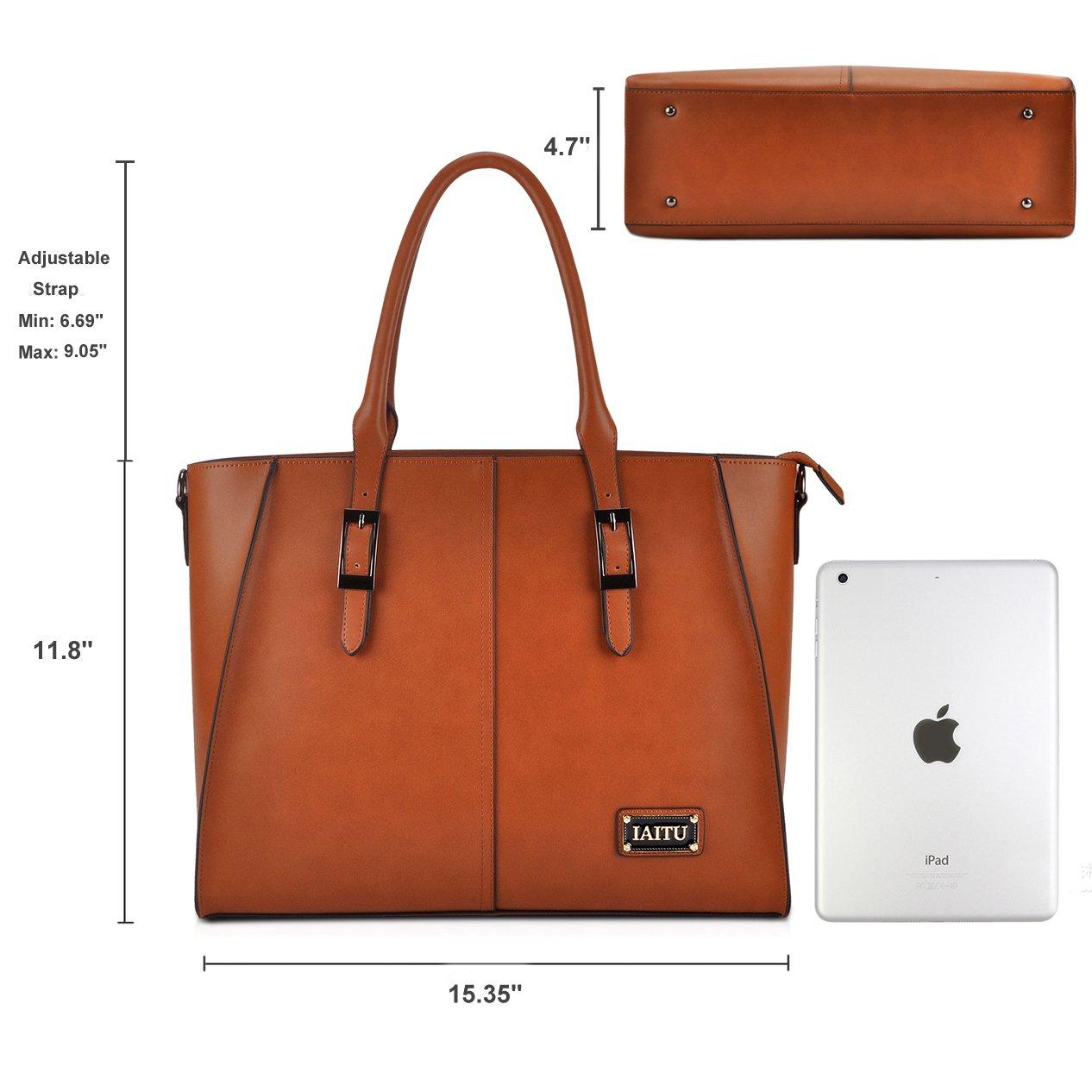 IAITU Laptop Tote Bag,15.6 Inch Crossbody Laptop Bag Casual Work Business Handbag with Smooth Zipper for Women(Brown) by IAITU (Image #4)