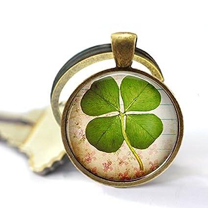 Cuatro hojas de trébol joyas, trébol de la suerte hoja llavero, joyería de buena suerte, llavero de champú, llavero trébol, pintura para el día de la ...