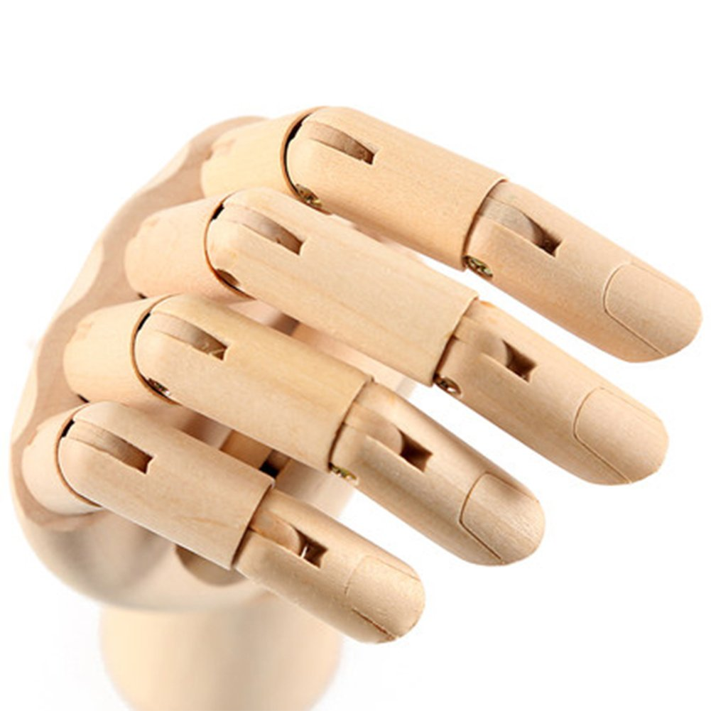 Wooden Hand Model Flexible Moveable Fingers Manikin Hand Figure Both Left and Right Hand for Sketching Drawing Home Office Desk Posable Joints Kids Children Toys Gift 10''Right Hands