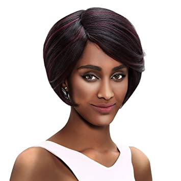 SLEEK 6 quot  Short Bob Wigs for Black Women with Side Bangs (Natural Black  with f5a0528479
