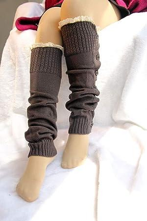 YUCH Calcetines Boots para Mujer De Punto, Leggins Y Mangas De Pierna, Gris,
