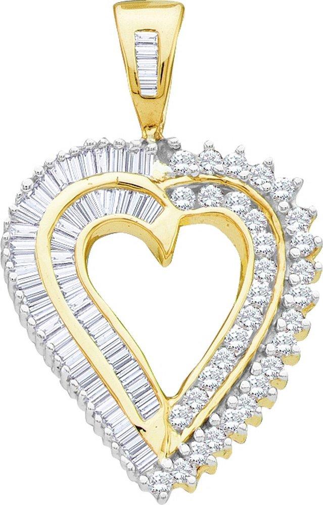 14kt Yellow Gold Womens Round Diamond Heart Love Pendant 7/8 Cttw (I2-I3 clarity; J-K color)