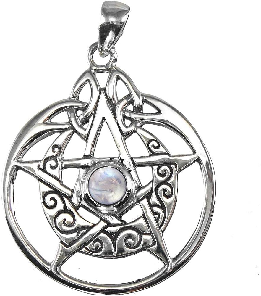 Sterling Silver Large Cut Moon Pentacle Pentagram Pendant Moonstone Dryad Design