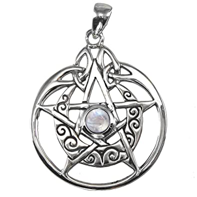 Amazon sterling silver crescent moon pentacle pendant with sterling silver crescent moon pentacle pendant with natural rainbow moonstone mozeypictures Choice Image