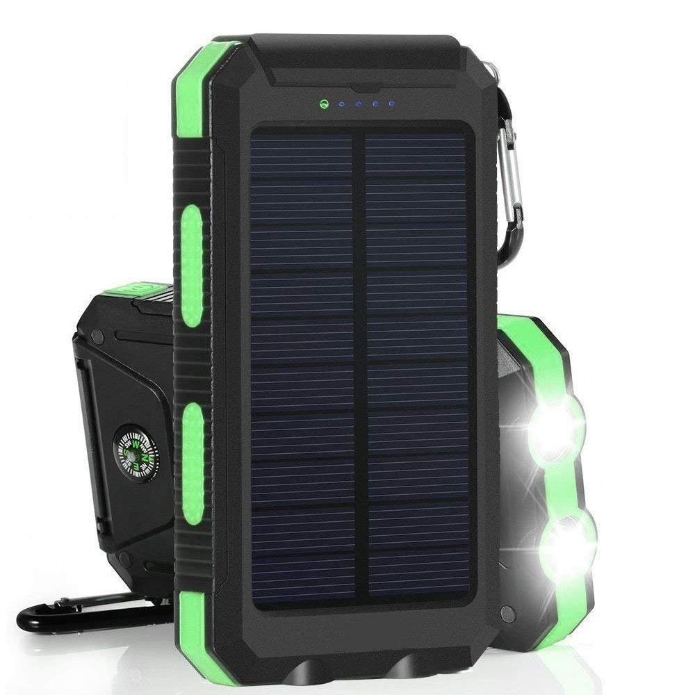 20000mAh Solar Power Bank Solar Charger Waterproof Portable Battery Charger with Compass for iPad iPhone Android Cellphones (Black & Green)