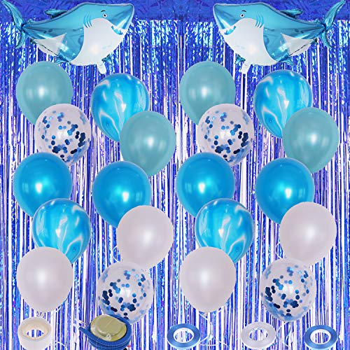 Xgood 29 Pieces Shark Blue Party Decorations Latex Balloons Foil Curtains Shark Balloons Ocean Theme Party Decors Balloon Ribbons with Balloon Dot Glue and Balloon Pumps for Kids Gifts Wedding Festival Decor