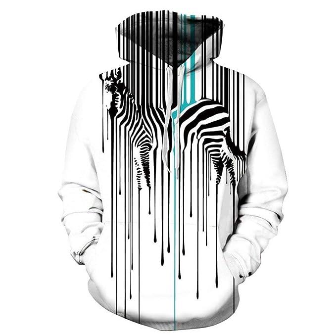 Unisex Sudadera con Capucha para Hombre Zebra Cross Streaks Tamaños Cómodos 3D Impreso Sudaderas con Capucha