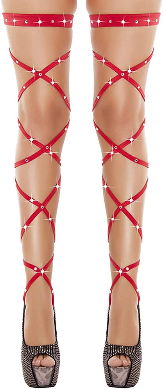 CHRONSTYLE Damen Overknees Elastische Halterlose Wickel Str/ümpfe Wrap Set Mit String Ge/öffnet Karneval Fasching Cosplay Strip