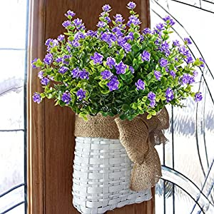 GTIDEA 4pcs Fake Plants Artificial Greenery Shrubs Eucalyptus Branches with Purple Baby's Breath Flower Plastic Bushes House Office Garden Patio Yard Indoor Outdoor Decor 5