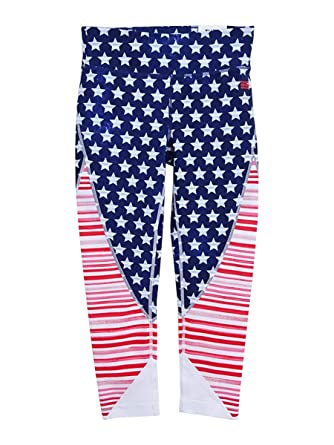 20aca1ff Tommy Hilfiger Womens Active Mid Rise Crop Leggings (X-Small, American Flag  Print) at Amazon Women's Clothing store: