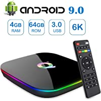 Android 9.0 TV Box,Q Plus Android Boxes with 4GB RAM 64GB ROM Quad-core H6 Support 6K Full HD Wi-Fi 2.4Ghz USB 3.0 H.265 Decoding Smart TV Box (EASYTONE 2019 Newest)…