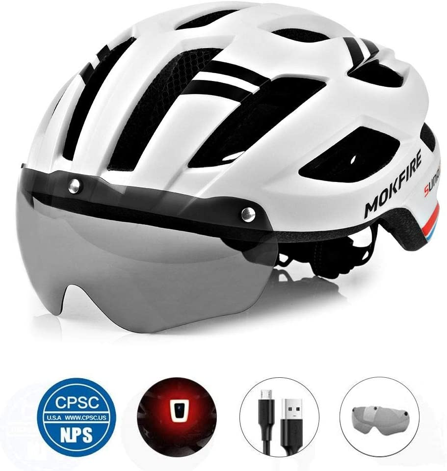 MOKFIRE Adult Bike Helmet with Magnetic Goggles and Rechargeable USB Light, Adjustable Bicycle Helmet for Men/Women Road Mountain Cycling, 21.65-24.41 Inches