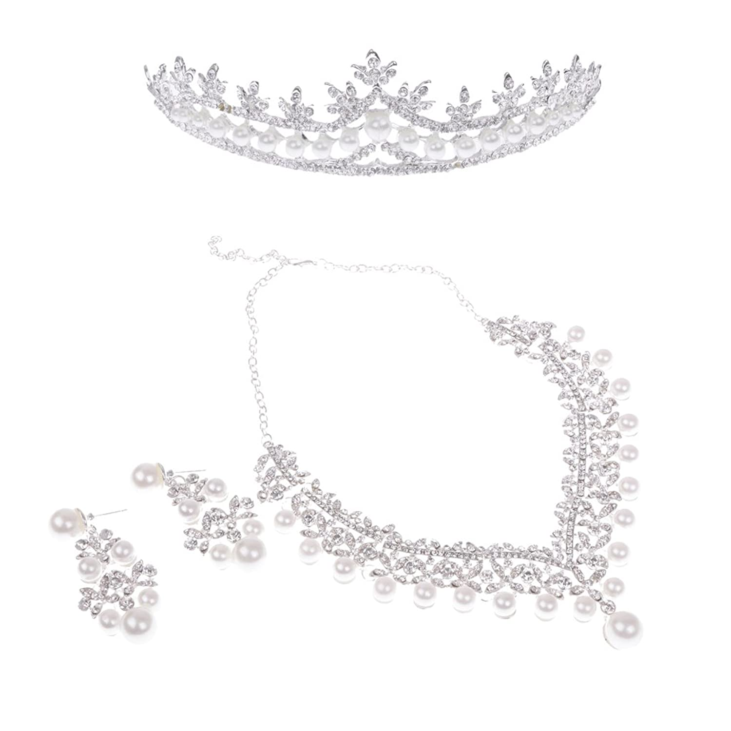 MagiDeal Luxury Crystal Pearls Necklace Earring Tiara Wedding Bride Party Jewelry Set