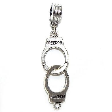 b202e584b Amazon.com: GemStorm Silver Plated Dangling 'Handcuffs' For European ...